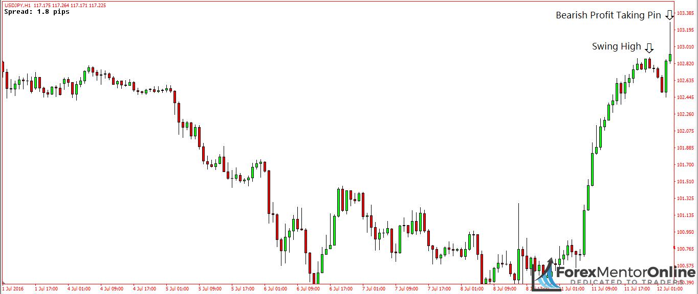 image of bearish profit taking pin bar