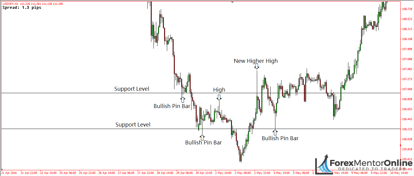 image of bullish pin bars forming at support levels